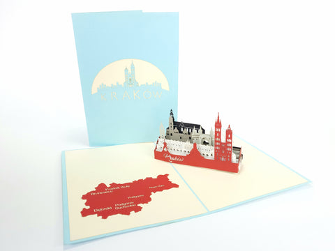 Kraków Skyline Pop Up Card