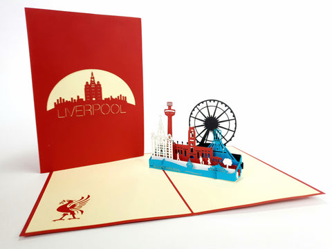 Red Liverpool Skyline Pop Up Card