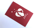 kissing couple around flying hearts 3d popup love gift card