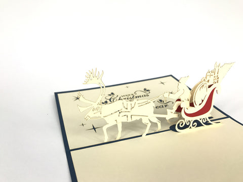 santa claus inside sleigh new year christmas popup card