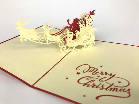 santa claus inside sleigh 3d merry christmas popup card