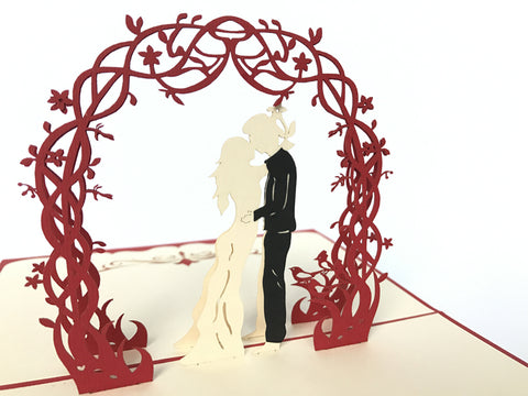 kissing wedding couple under red floral arch 3d popup love gift card