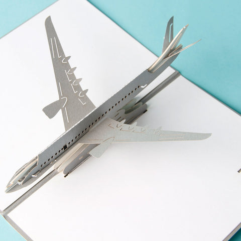 big silver airplane 3d pop up card