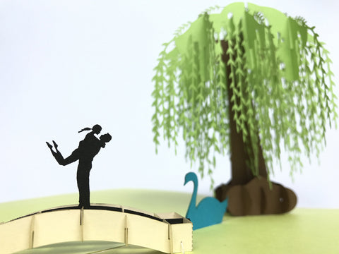 romantic couple and willow tree 3d popup love gift card