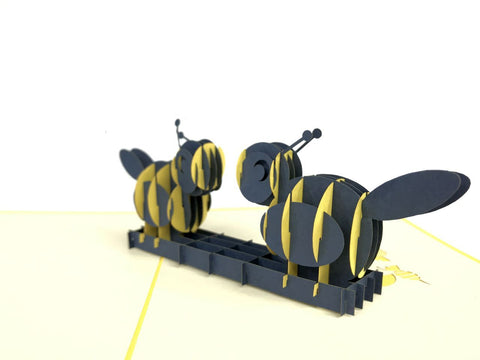 yellow bees kissing each other 3d pop up bee card