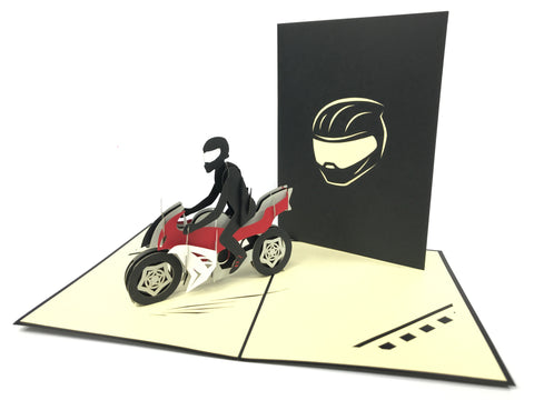 Motorbike Biker Pop Up Card