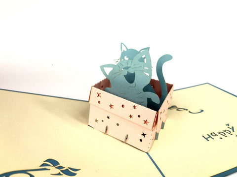blue cat inside a birthday present box 3d pop up card