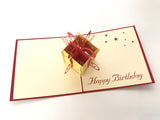 birthday present with a red bow 3d popup gift card