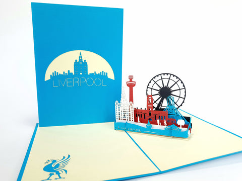 Blue Liverpool Skyline Pop Up Card