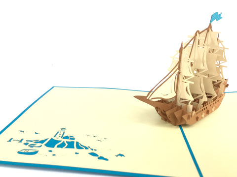 wooden sailing boat 3d pop up blue card