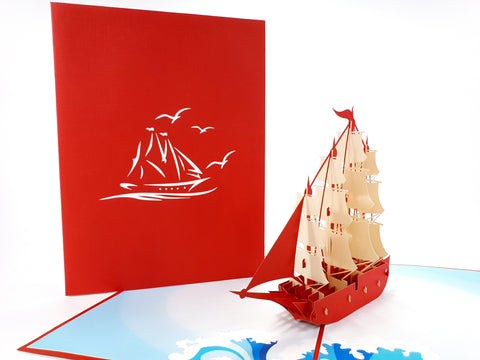 Color Sailing Ship Pop Up Card