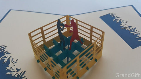 boxing ring with a boxers 3d pop up sport fight card