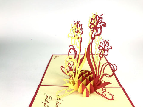 bunch of red and yellow flowers 3d pop up card