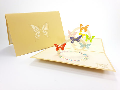 Flying Butterfly Spiral Pop Up Card