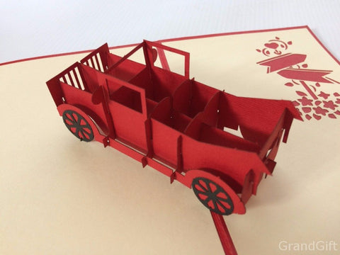 red old card 3d pop up vehicle card