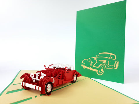 Red Old School Car Pop Up Card