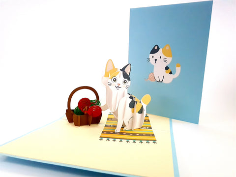 Cat Playing with Wool Pop Up Card 3d