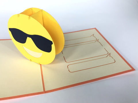 chill our face emoji sunglasses 3d pop up card
