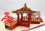 chinese pavilon 3d popup monument card