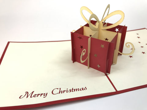 christmas present box 3d pop up gift card