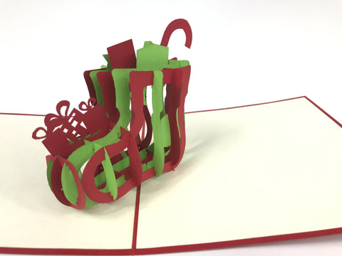 christmas sock full of presents 3d pop up card