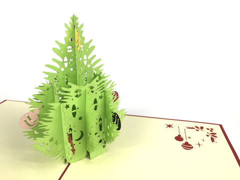 green christmas tree with christmas balls on it 3d popup gift card