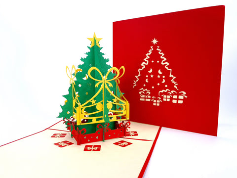 Christmas Tree With Presents Pop Up Card