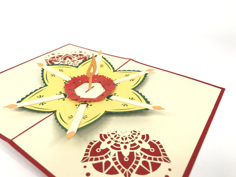 red diwali flower 3d popup gift card