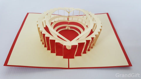 colosseum red 3d pop up roma monument card