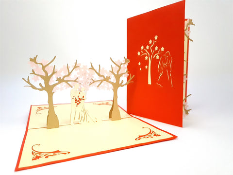 Couple Under The Cherry Blossom Tree Pop Up Card