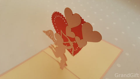 pink cupid with big red heart 3d popup card