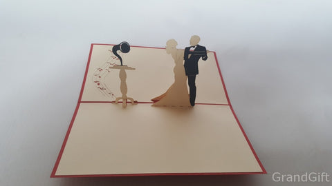 dancing groom and bride love 3d popup wedding card