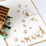 dog on a dog house 3d pop up dog kennel card