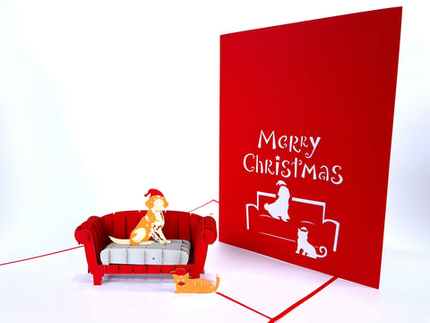 Christmas Dog&Cat On The Sofa Pop Up Card