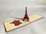 red popup card eiffel tower monument