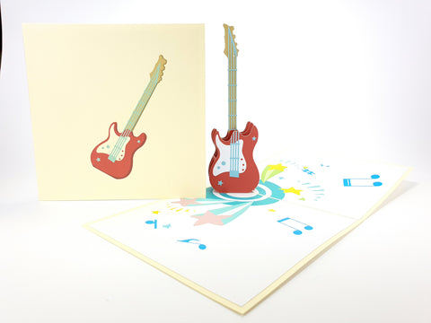 Color Electric Guitar Pop Up Card