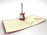 red electric guitar 3d popup music gift card
