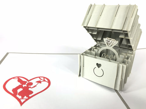 silver engagement diamond ring 3d pop up card