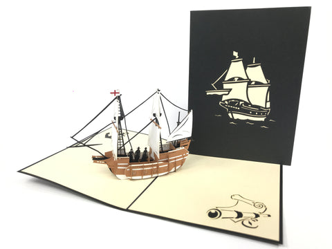 English Ship Pop Up Card