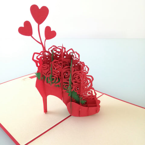 High Heel Floral Pop Up Card