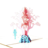 girl on a tree swing 3d pop up card