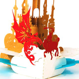 golden castle with a dragon and knight fight 3d pop up card