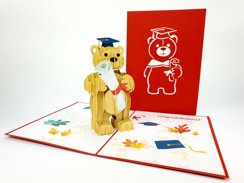 Graduation Bear Congratulate Pop Up Card