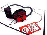 Headphones Pop Up Card