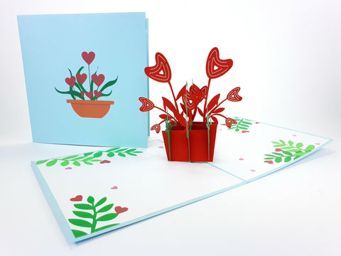Hearts Flowers Pop Up Card