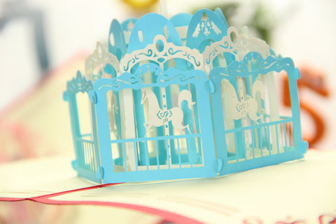 horse carousel 3d fun park pop up card