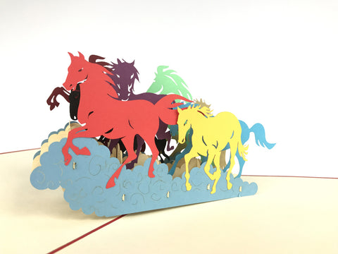 colorful wild horses running 3d pop up animals card