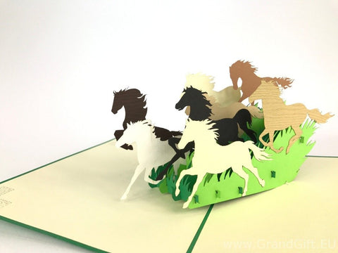 wild horses running 3d pop up animals card