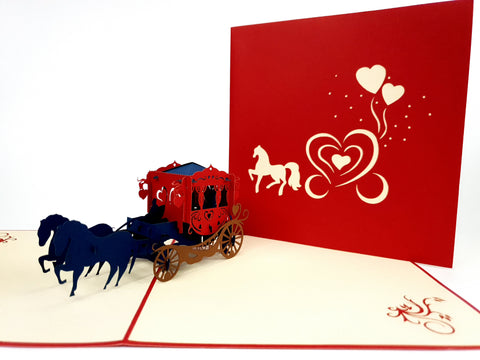 Carriage Red Pop Up Card