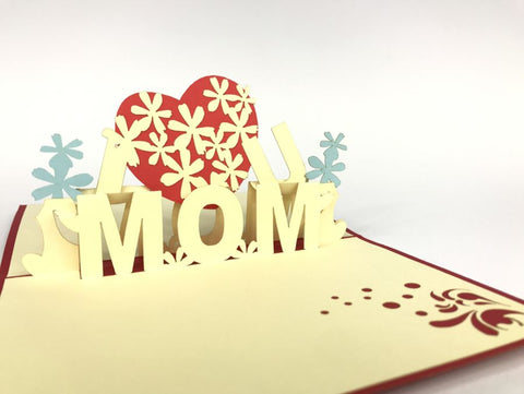 i love mom 3d pop up mothers day card